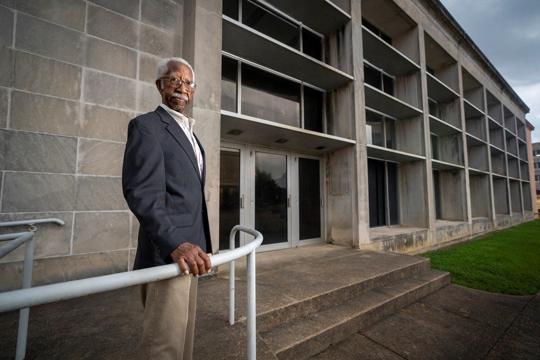 """Jerry Keahey Sr. stood outside the former public library in Jackson, Mississippi where he drove nine fellow students from Tougaloo College to conduct a """"read-in"""" in 1961."""