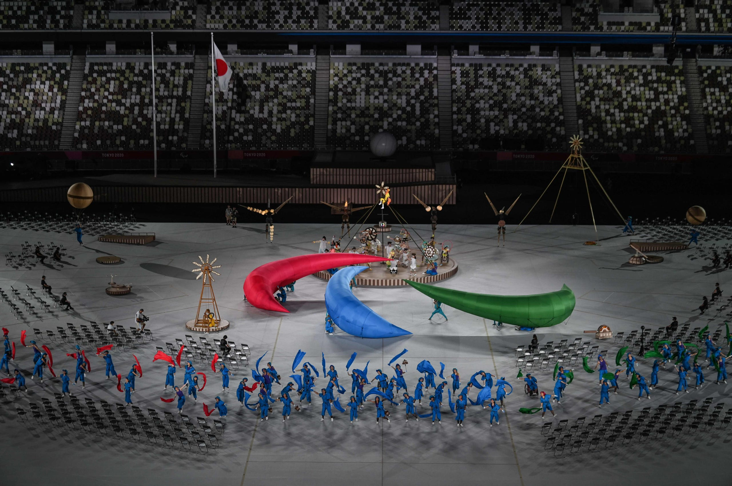 August 24, 2021: Performers take part in the opening ceremony for the Tokyo 2020 Paralympic Games at the Olympic Stadium in Tokyo.