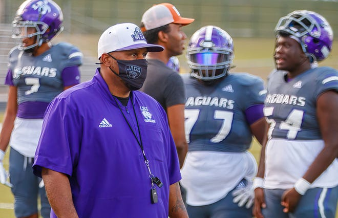 Austin, TX: LBJ Jaguars head coach Jahmal Fenner during pregame warmup before the kickoff against the Manor Mustangs at the nondistrict football game on Thursday, Aug 26, 2021, at Nelson Field.