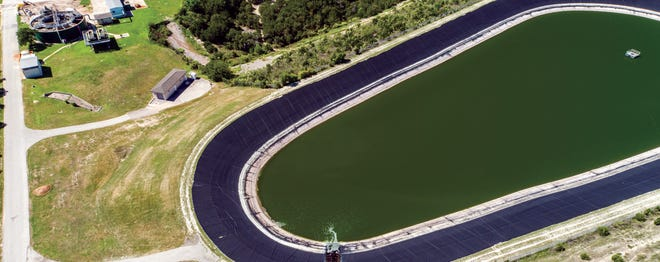Treated wastewater for reuse is transferred to one of the Lakeway Municipal Utility District's storage ponds. It is never returned to Lake Travis.