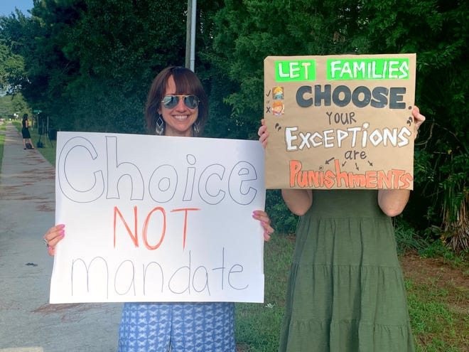 Columbia County mothers took part in a protest of the school district's mask mandate on Thursday outside the board of education office in Evans.