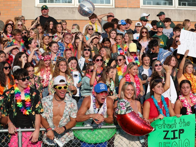 Blackhawk's student section watch the game against Beaver Falls Friday August 27, 2021 at Geneva College
