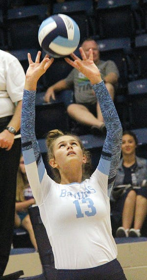 Shown early in her Lady Bruin career, Mia Otten has been a versatile warrior for Bartlesville High School volleyball and one of the top hitters in the state.