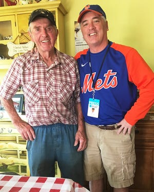 Little League World Series champion of 1947 Ed Jonas swaps baseball stories with Tri-County Independent columnist Kevin Edwards during a visit to the Jonas Farm in Cold Spring, PA.