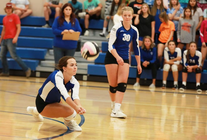 Danville's Ava Smith digs out ball in the Bears match up with Highland.