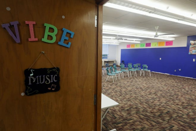 Chairs are set up for students in Melissa Carper's music classroom for Burlington School District's Virtual Innovative Blended Exploration program Aug. 12 at James Madison Education Center.