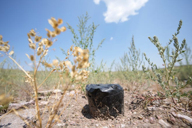 In this Monday, July 26, 2021, photograph, an experimental bore head is shown on the Terry Bison Ranch south of Cheyenne, Wyo.