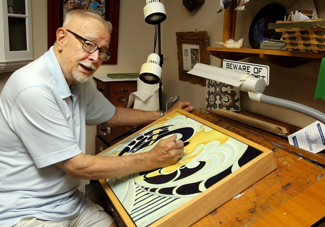 Roger Goodspeed creates art on Wednesday, Aug. 25, 2021, in the studio at his home in Freeport.