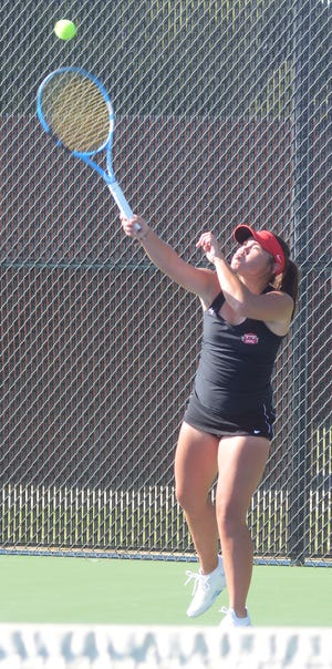 Hesston High tennis player Gracie Dawes finished second at first singles at the Hesston Invitational. The Swathers were fifth in the team standings and play Tuesday at the Hillsboro Invitational.