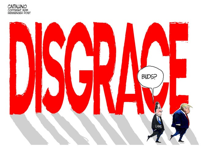 Local cartoonist Ken Catalino's take on the resignation of former Gov. Andrew Cuomo.