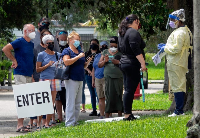 People line up for Regeneron treatments Wednesday at Westgate Park in West Palm Beach.