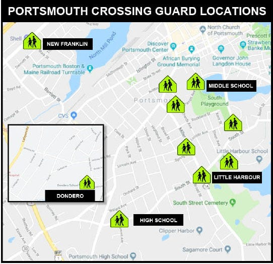Map showing locations of school crossing guards in Portsmouth, N.H.