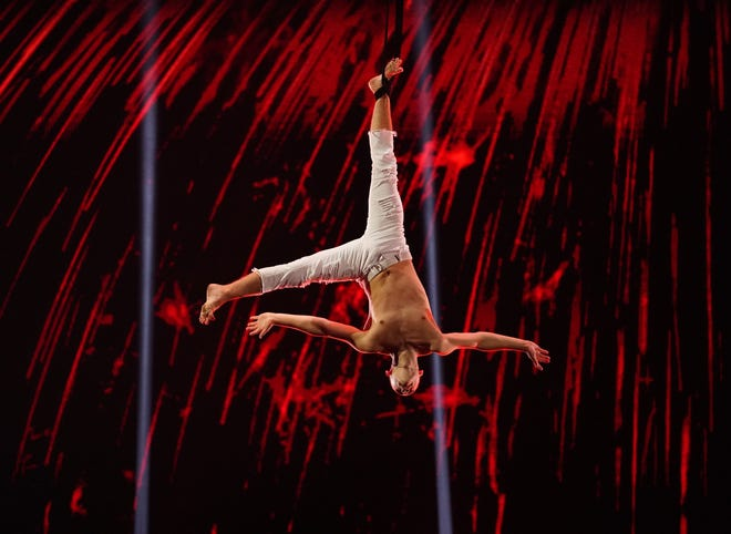 """Aerialist Aidan Bryant of Prince George, Va. performs on America's Got Talent """"Quarterfinals 2"""" Episode 1611 on August 17."""
