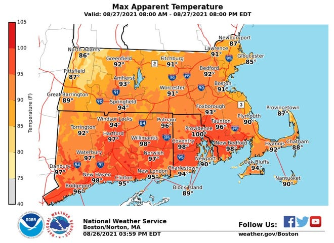 The heat and humidity stuck around for a fourth day with heat indexes approaching the upper 90s in parts of Rhode Island.