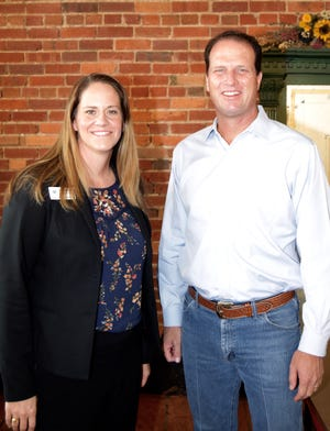 Karin Kuykendall (L), Regional Director for Texas' 11th District, stands beside Congressman August Pfluger (TX-11). Pfluger was in Ballinger to speak to citizens at Main Street Soda Fountain regarding the crisis in Afghanistan, looming tax increases, and border security.