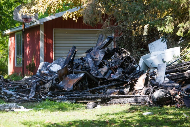 The scene of a house explosion Friday on Kern Road in South Bend.