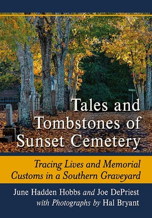 The cover of Tales and Tombstones of Sunset Cemetery.
