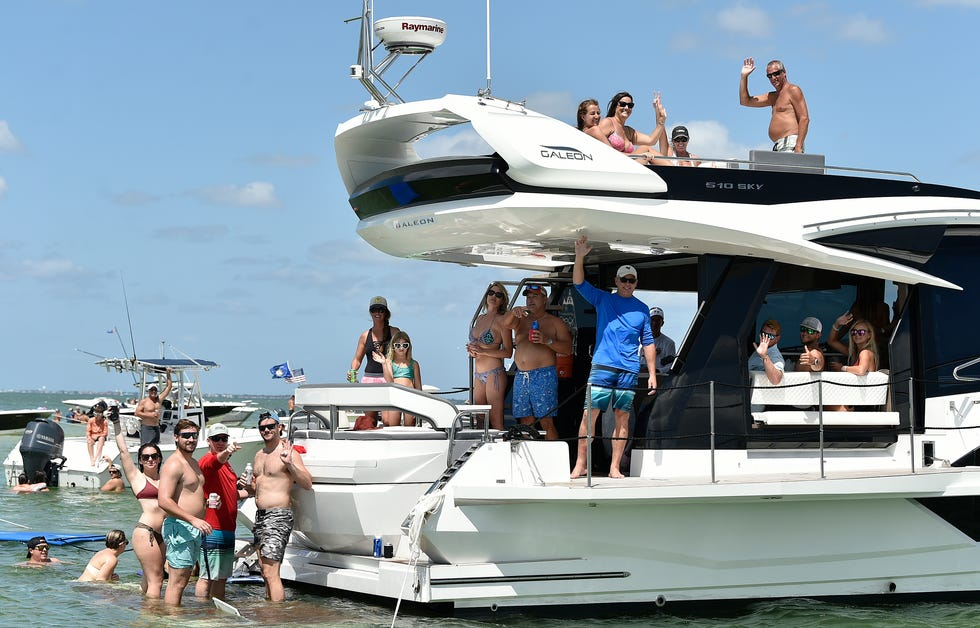 Boat retail chain MarineMax is againhosting a free AquaPalooza bash, pictured here in 2019,in front of their marina on the west side of Sarasota Bay at New Pass on Lido Key's City Island.