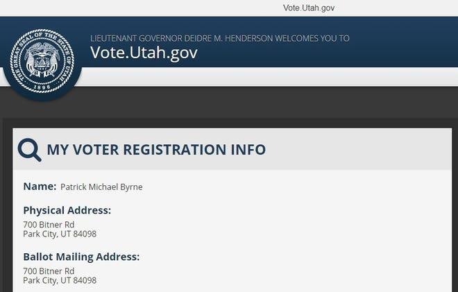 Voter registration information for Patrick Michael Byrne from the state of Utah.