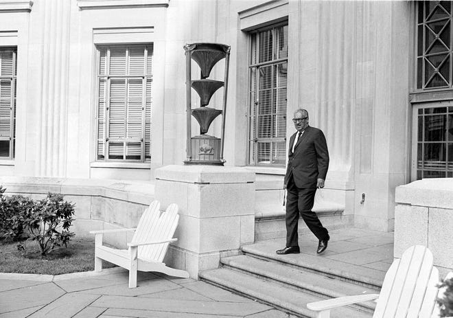 Thurgood Marshall leaves the Justice Department after being confirmed by the Senate as the nation's first black Supreme Court justice on Aug. 30, 1967. Marshall, then 57, was U.S. solicitor general at the time. He was confirmed on a 69-11 vote.