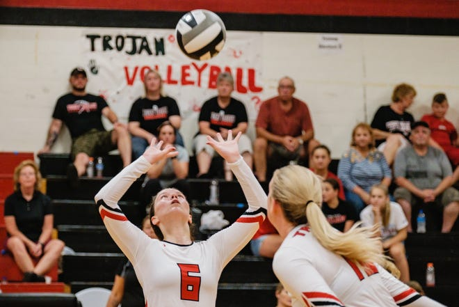 Tusky Valley's Locie Levengood sets the ball  during a match earlier this season.