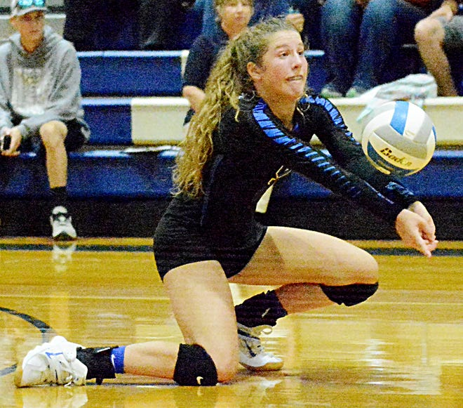 Florence-Henry's Taylor Watson receives a serve during Thursday night's Eastern Coteau Conference volleyball match against Great Plains Lutheran in Watertown. The Falcons rallied for a 3-1 win.