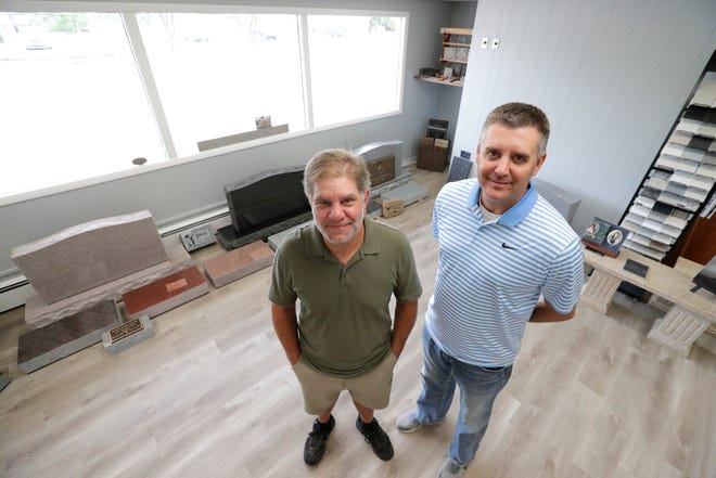 Brian Herres, left, and Chuck Gresenz are co-owners of Appleton StonewoRx located at 1711 W. College Ave. on Aug. 23 in Appleton,