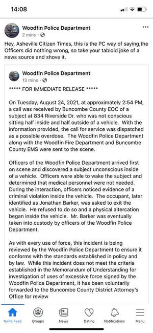 """Published and then erased on Aug. 26, the Woodfin Police Department tells the Citizen Times to """"shove it"""" after the paper published a video of a detective using a stun gun on a man who is standing still"""