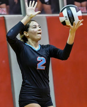 Zadane Burlew of Rockledge serves during Thursday's volleyball match against Satellite August 26, 2021. Craig Bailey/FLORIDA TODAY via USA TODAY NETWORK