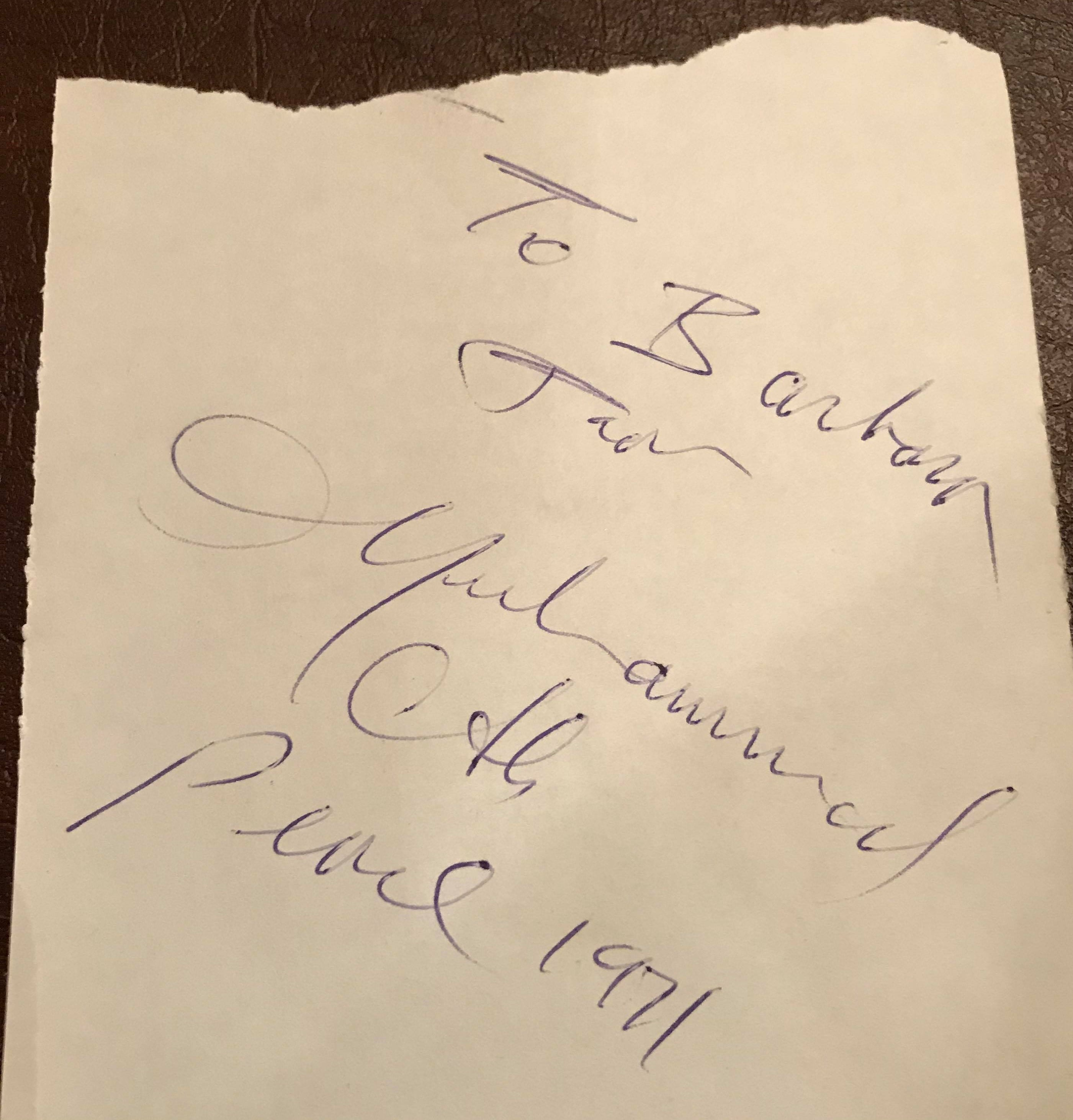 Barbara DeNardo was about 11 when she worked up the nerve to approach boxing great Muhammad Ali at a Cherry Hill park across the street from her house in 1971. Ali would run around the park, then shadow box near his car before he left. She got his autograph on a page of a book. She's kept it all these years.