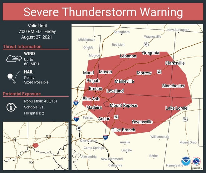 A severe thunderstorm warning is in effect for Hamilton, Butler, Warren and Clermont counties until 7 p.m.