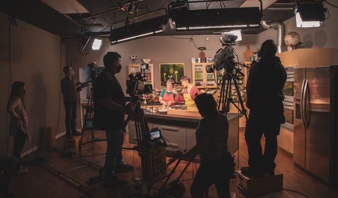 "Chef Katy Meyer joins Charity Nebbe on the season 10 set of ""Iowa Ingredient."""