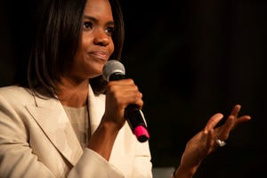Candace Owens addresses the Southwest Indiana Right to Life Banquet at the Old National Events Plaza Thursday night, Aug. 26, 2021.