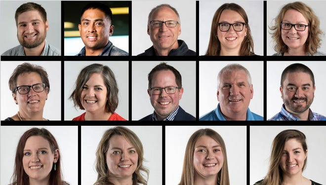 Coloradoan journalists, top row from left: Chris Abshire, Jon Austria, Miles Blumhardt, Molly Bohannon and Holly Engelman. Middle row from left: Pat Ferrier, Sarah Kyle, Eric Larsen, Kelly Lyell and Kevin Lytle. Bottom row from left: Jacy Marmaduke, Rebecca Powell, Sady Swanson and Erin Udell