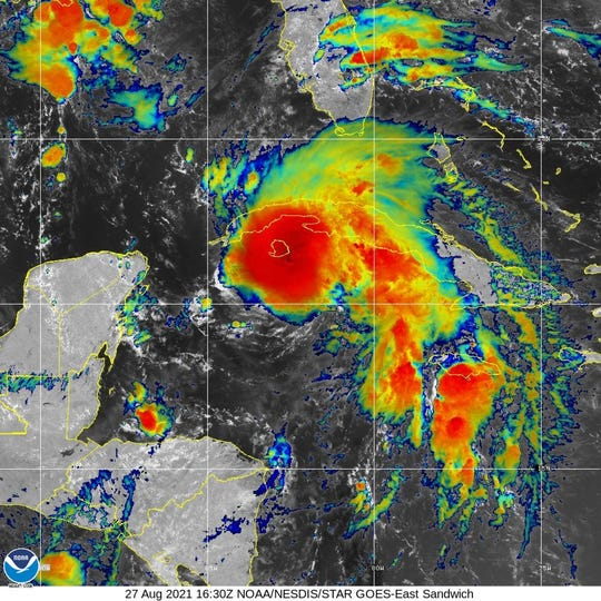 Tropical Storm Ida 1 p.m. Aug. 27, 2021.