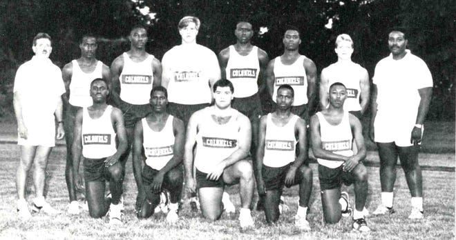 The members of the1989 Henderson County High School boys track team who competed in the state meet were, front row from left, Kevin Sebree, Jerome Royster, Jay Klutey, Willie Holmes, Ricky Hancock, back row, coach David Mitchell, Eugene Tramill, Bobby Leavell, Shawn McMahon, Doug Calhoun, Daymon Carter, Tony Krampe and coach Robert Johnson.