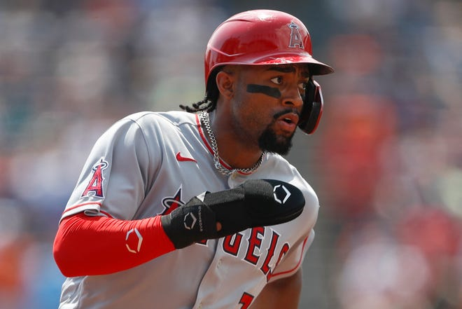 Aug 19, 2021; Detroit, Michigan, USA; Los Angeles Angels right fielder Jo Adell (7) rounds third base during the second inning against the Detroit Tigers at Comerica Park. Mandatory Credit: Raj Mehta-USA TODAY Sports