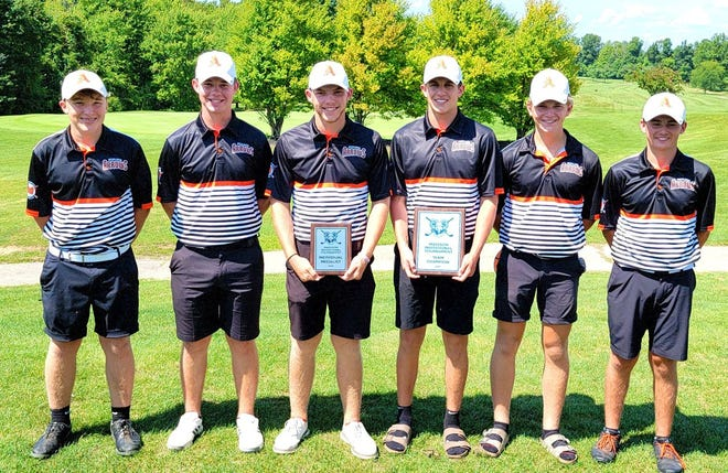 The Ashland High boys golf team poses for a photo after winning the Madison Open on Friday at Oak Tree Golf Club.
