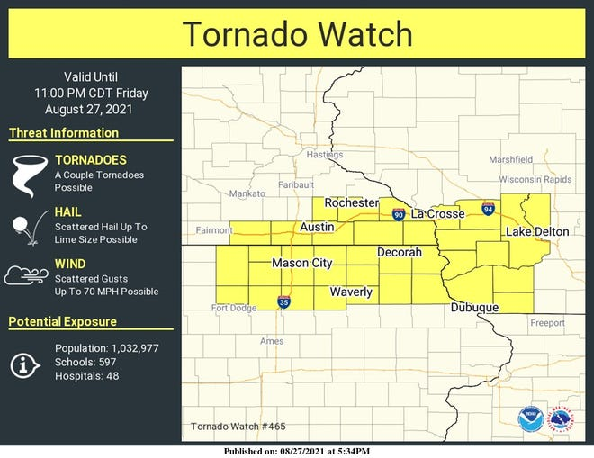 A tornado watch is in effect for portions of southwest Wisconsin, northern Iowa and southern Minnesota until 11 p.m. on Friday night.