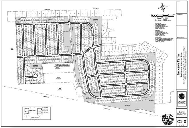 Preliminary master plan for Jackson Farm development in White House, Tennessee.