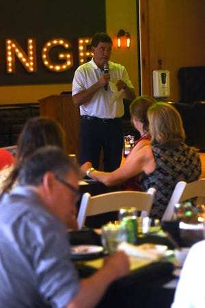 Congressman Troy Balderson, R-Zanesville, who represents the 12th Congressional District, speaks during the Licking County Chamber of Commerce's Washington Night on Thursday, August 26 at The Trout Club in Newark. The annual event is an exclusive occasion to meet with local elected officials.