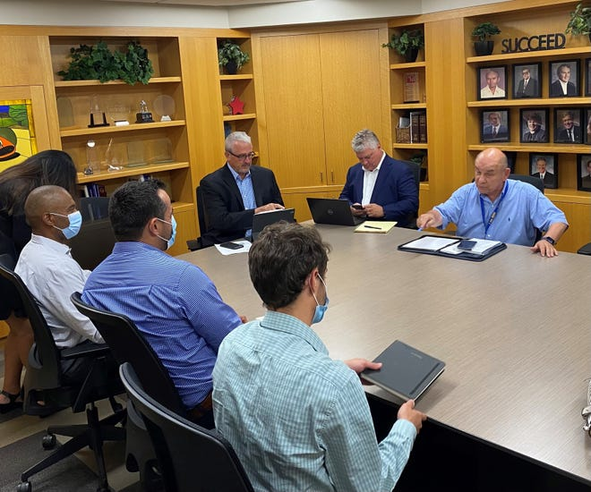 DTE Energy officials met with Novi Mayor Bob Gatt, City Attorney Thomas Schultz and City Manager Pete Auger Aug. 23 to discuss power outages in the city and how to resolve issues.