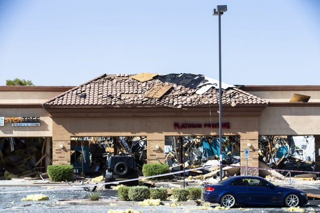 Scene of the explosion at Platinum Printing, which impacted neighboring business StemTree, in a strip mall at the intersection of Rural and Ray roads in Chandler, on Aug. 27, 2021. The explosion occurred on Aug. 26, 2021.