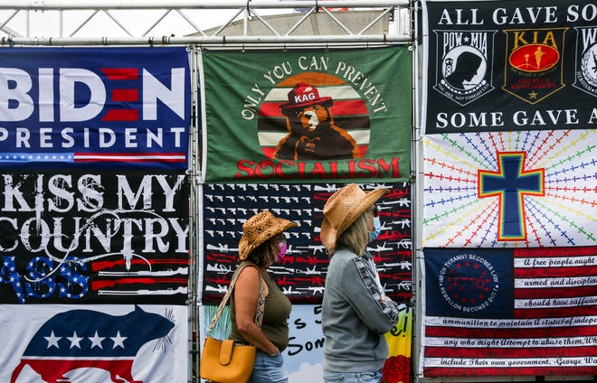 A booth sells political flags at the Oregon State Fair on Friday in Salem.