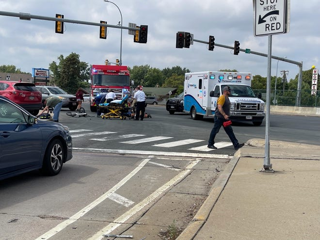 The scene from Friday afternoon's crash along 10th Street and Cleveland Avenue.