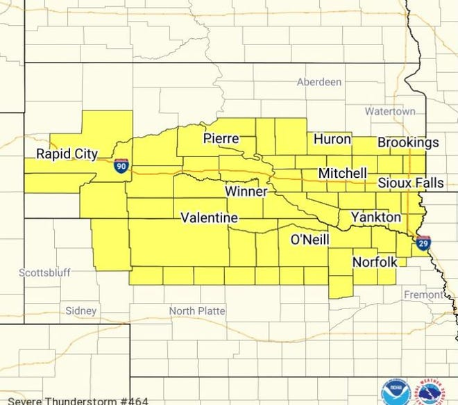 Severe thunderstorm watch for southern South Dakota until 3 a.m. CT.