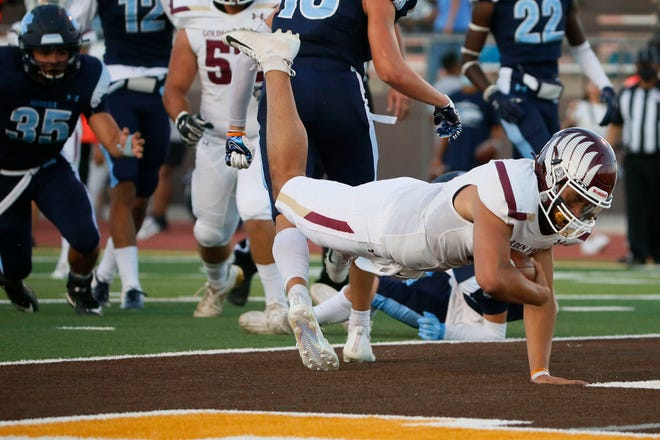 Andress' Elias Duncan scores a touchdown during the game against Chapin Thursday, Aug. 26, 2021, at Austin High School in El Paso.