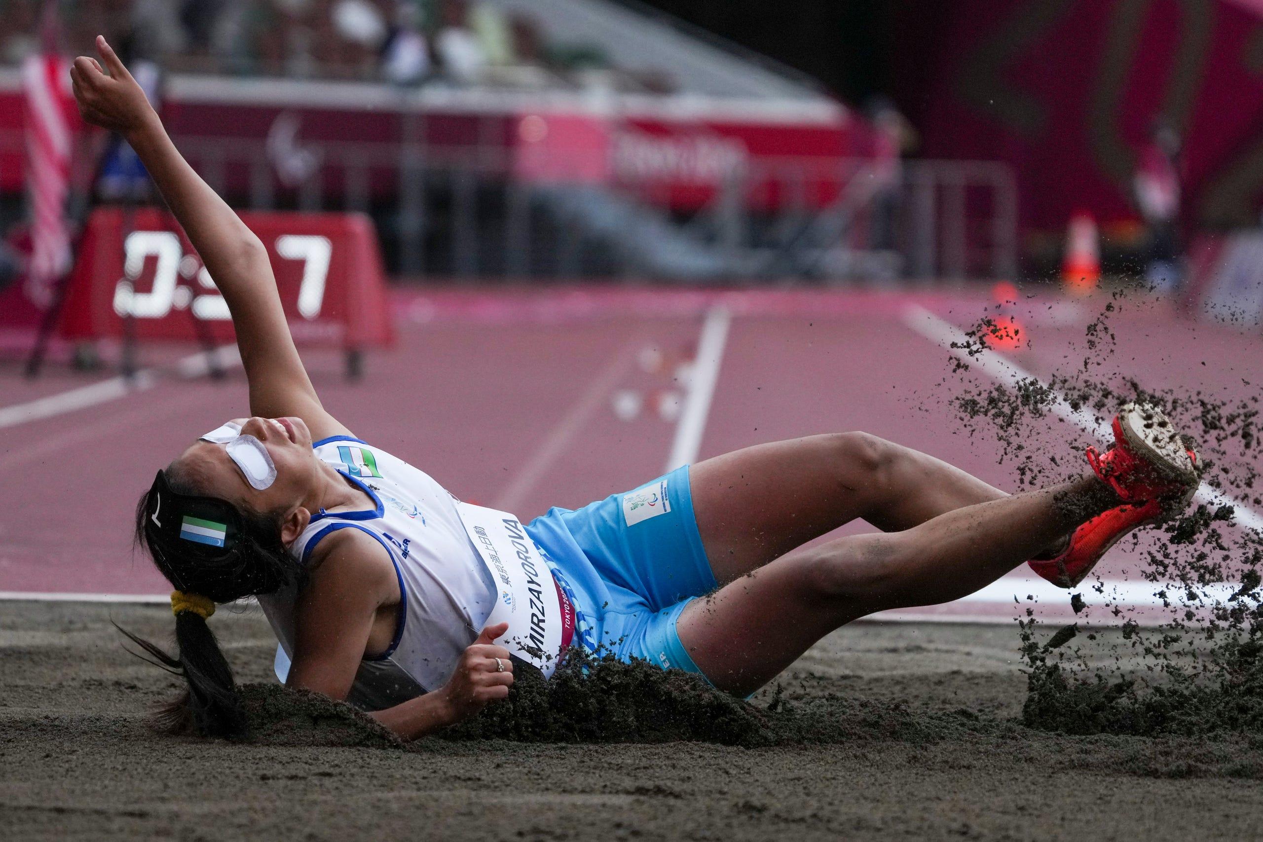 August 27, 2021: Asila Mirzayorova of Uzbekistan competes in the women's T11 long jump.