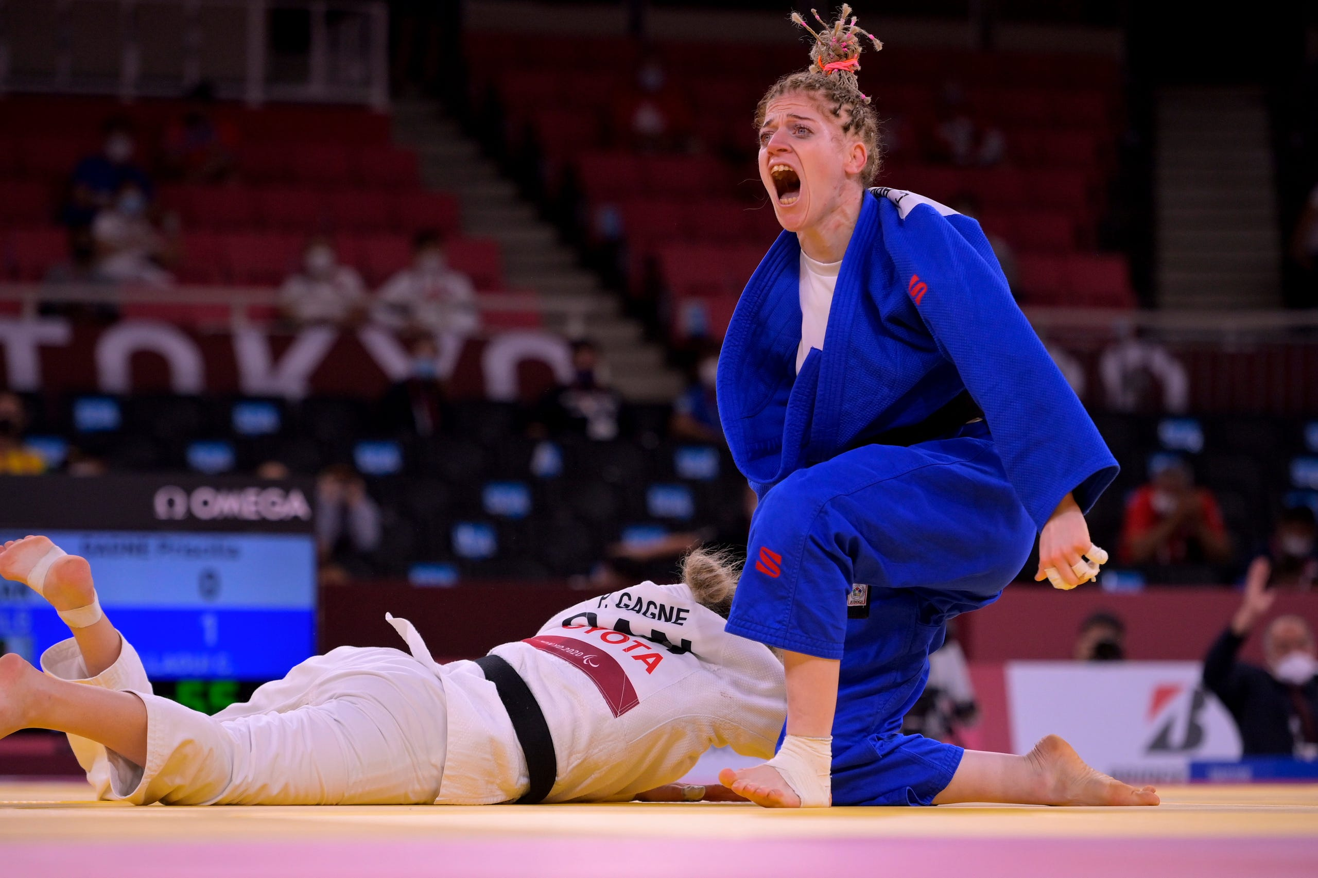 August 27, 2021: Cherine Abdellaoui of Team Algeria celebrates after winning in the Women's -52kg Judo  on day 3 of the Tokyo 2020 Paralympic Games at Nippon Budokan in Tokyo, Japan.