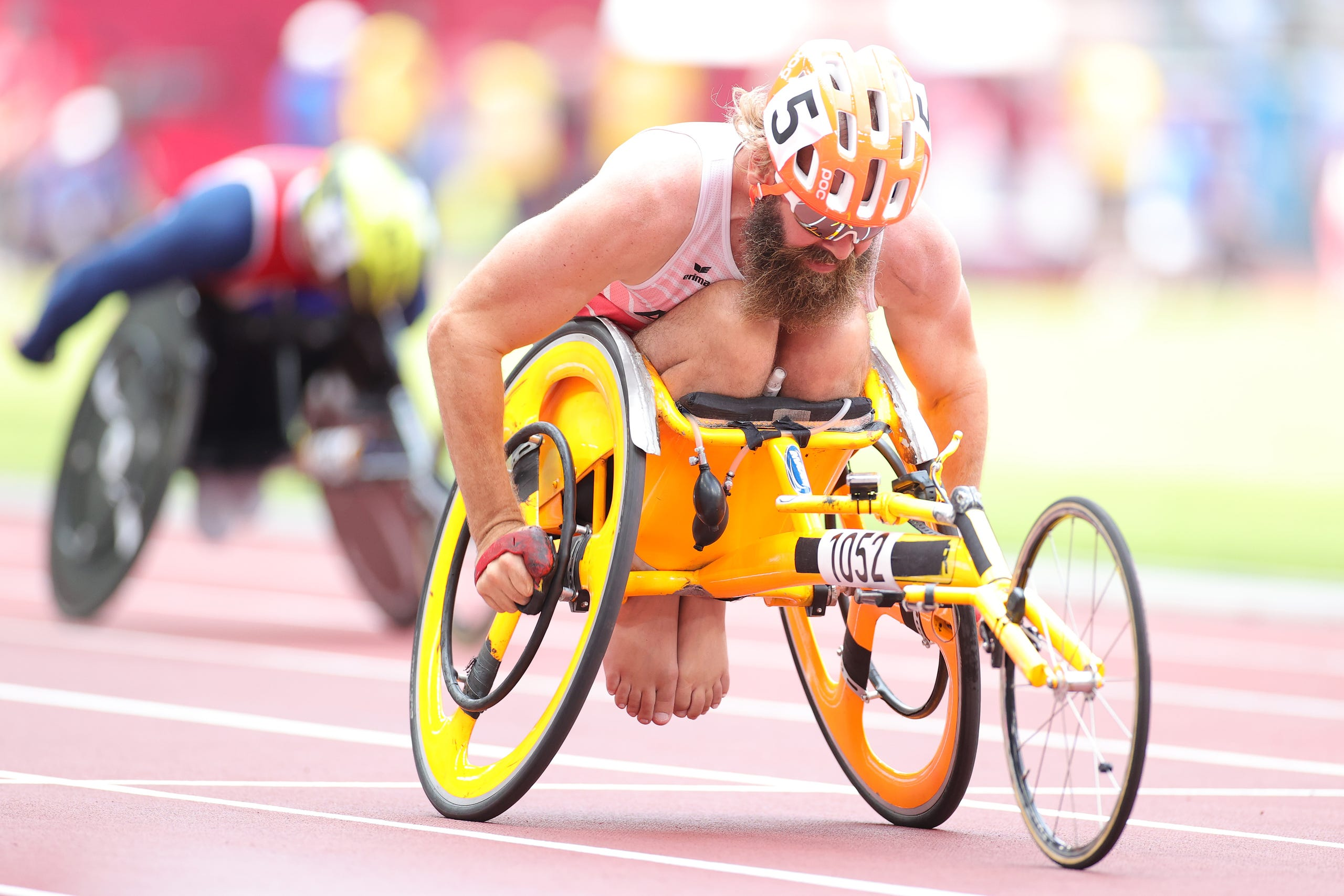 August 27, 2021: Thomas  Geierspichler of Team Austria competes in Men's 400-meter - T51 heat on Day 3 of the Tokyo 2020 Paralympic Games.